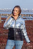 Комбинированная короткая куртка для полных Серебро с черным, фото 1
