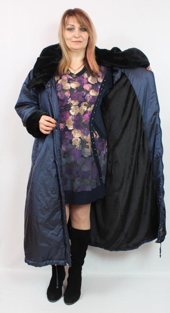 Турецкая теплая длинная женская куртка с мехом, большие размеры 54-70