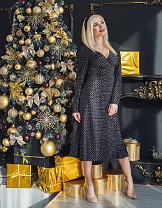 Платье женское миди черное с серебром
