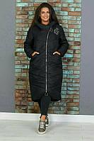 Длинная женская куртка зимняя черная батал, фото 1