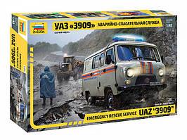 Сборная модель автомобиля УАЗ 3909 Аварийно-спасательная служба. 1/43 ZVEZDA 43002