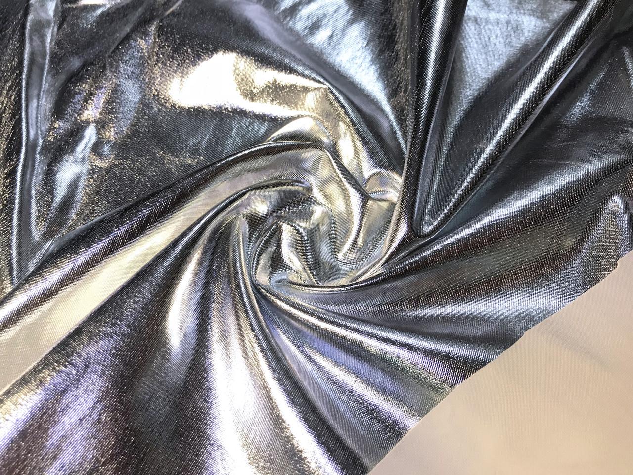Трикотаж масло нарядное диско залитое, серебро