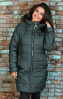 Пальто женское дутое на синтепоне в расцветках батал, фото 1