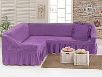 Набор Love you Лиловый-29 чехол для углового дивана и декоративная подушка