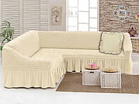 Набор Love you Крем-1 чехол для углового дивана и декоративная подушка
