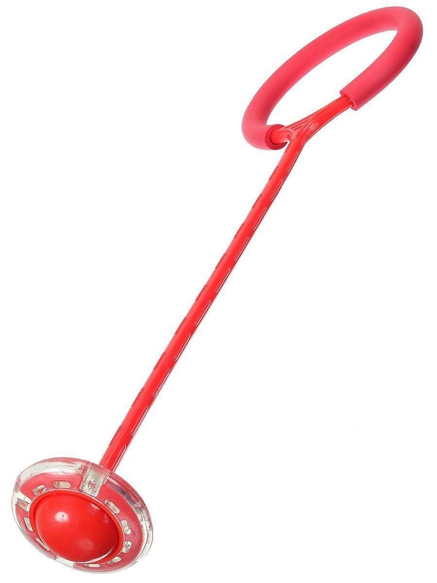 🔝 Светящаяся скакалка крутилка с колесиком на одну ногу | Нейроскакалка Красная, с доставкой | 🎁%🚚