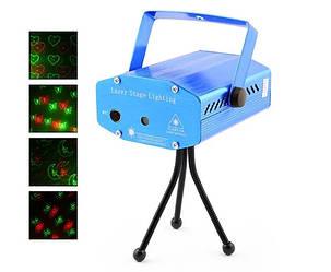 Диско лазер проектор XL-6G-D красный+зеленый с 4 изоборажениями
