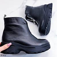 38 р. Ботинки женские зимние черные кожаные на низком ходу, из натуральной кожи, натуральная кожа, фото 1