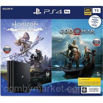Ігрова приставка PlayStation 4 Pro 1TB Black (CUH-7208B) Bundle + God Of War + Horizon Zero Dawn.