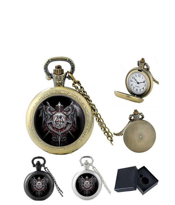 Карманные часы Драконы и щит