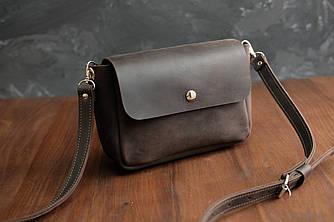 """Женская кожаная сумка """"Макарун XL"""", Винтажная кожа, цвет Шоколад"""