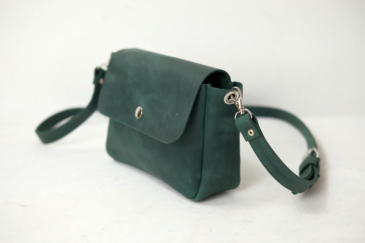 "Женская кожаная сумка ""Макарун XL"", Винтажная кожа, цвет Зеленый"