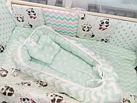 Кокон з ортопедичним матрацем та подушкою Маленькі корони Ментол