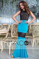 Коктейльное гипюровое длинное платье чёрно-голубое