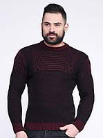 Мужской свитер оригинальной вязки. Бордо.( Зима-осень-  48-50, 52-54)
