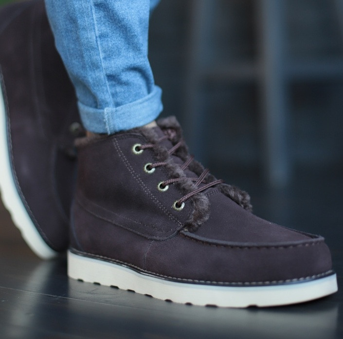 Мужские зимние ботинки UGG David Beckham шоколадные 41-45р. Фото в живую. Люкс реплика