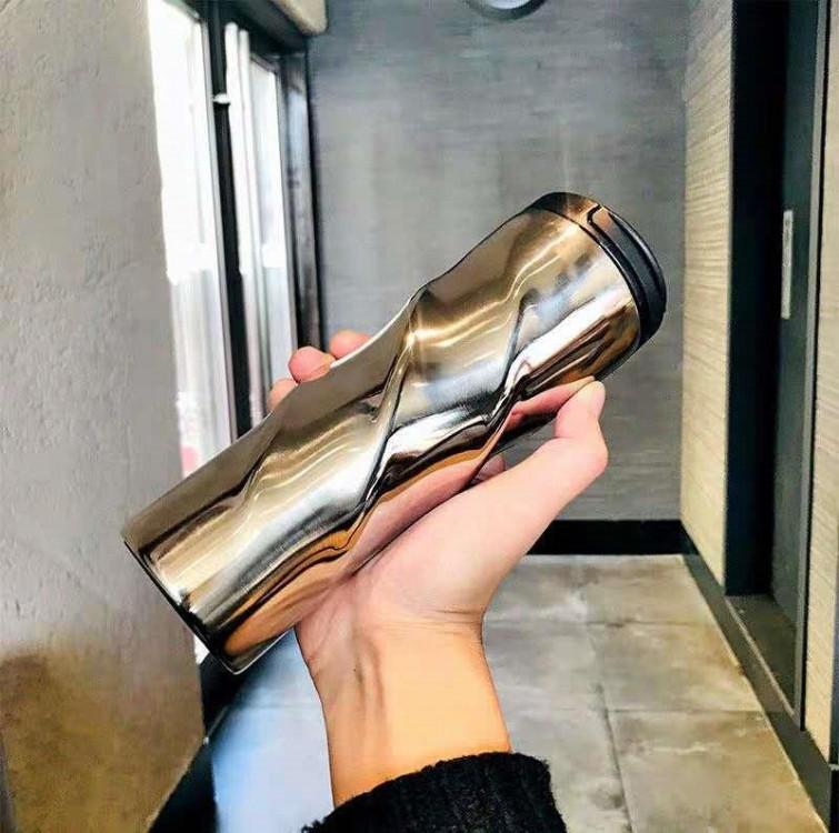 Термокружка глянцевая фигурная Starbucks 473мл (Серебро)