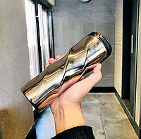 Термокружка глянцевая фигурная Starbucks 473мл (Серебро), фото 1