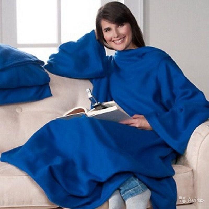 Плед флисовый с рукавами Снагги Бланкет, рукоплед  (синий)