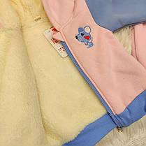 Костюм  на девочку  утепленный  на меху  розовый  осень-зима 1-3 года, фото 2
