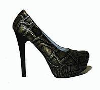Туфли на платформе черно-коричневый питон