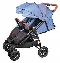 Прогулочная коляска для двойни Coletto Enzo Twin, джинс (8967)