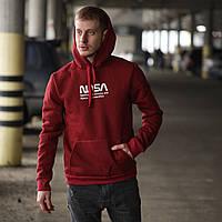 Кофта мужская зимняя Nasa USA X-burgundy | худи с капюшоном