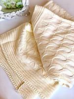Плед вязанный для новорожденных Коса 100х90 в подарочной упаковке айвори