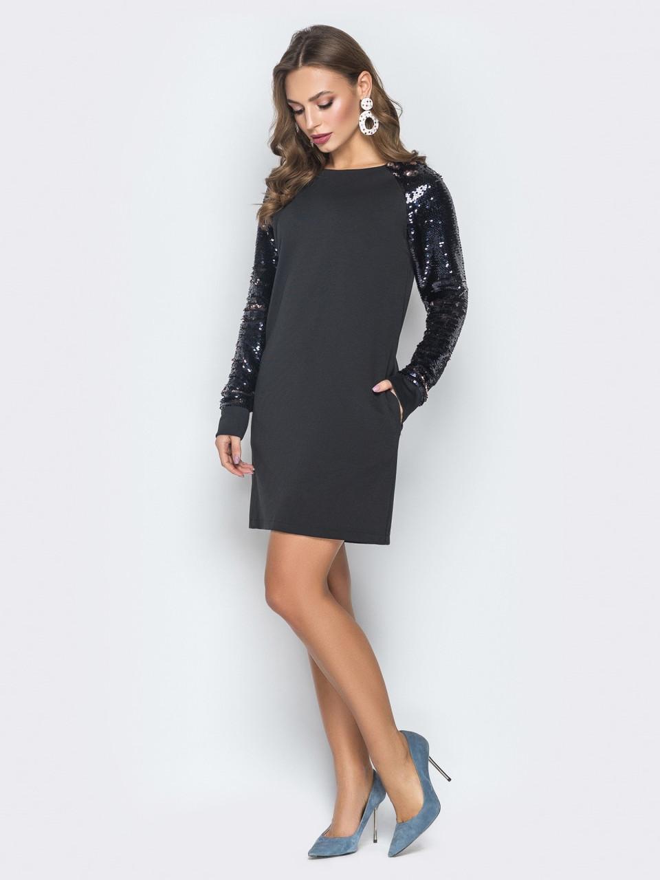 Черное платье из итальянского трикотажа с рукавами из паеток и молнией сзади