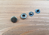 Кнопка металлическая Альфа 10мм. Турция цвет антик (50 шт в упаковке)