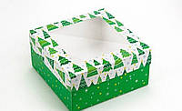 Подарочная коробка Ёлки 20х20х10 см, фото 1