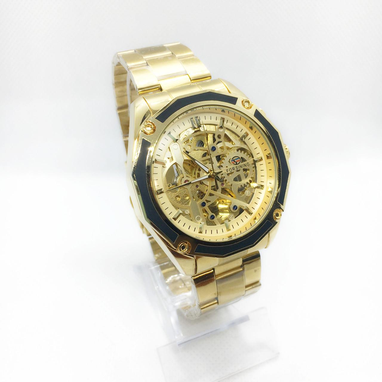 Механические наручные часы Forsining, золотистые ( код: IBW260Y )