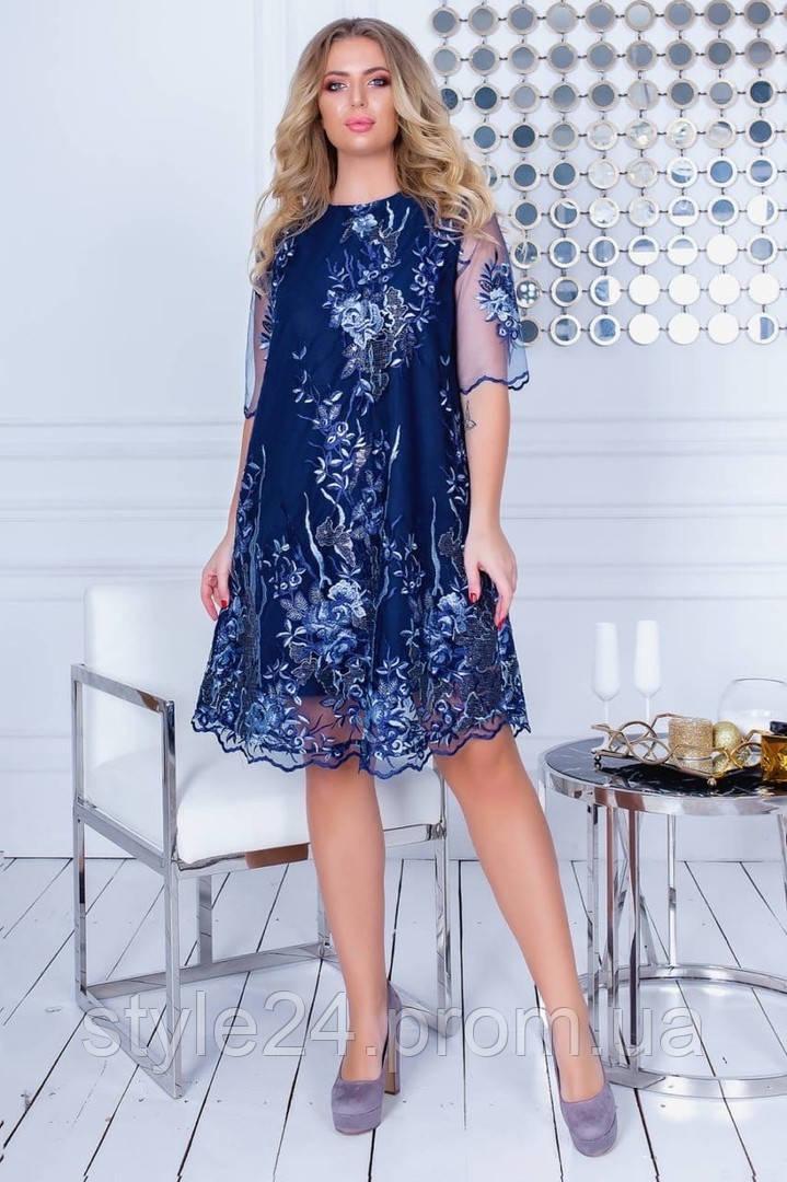 Батальне гіпюрове плаття з вишивкою та сіточці  .Р-ри 48-54