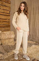 Жіночий в'язаний костюм (кофта+штани) №409