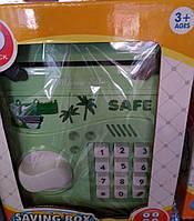 Детская электронная копилка с купюроприемником (зеленая). Детский электронный сейф с кодовым замком, фото 1