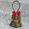 Дзвіночок золото Новорічна ялинкова прикраса в еко-стилі з золотою стрічкою №2