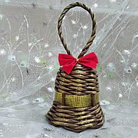 Дзвіночок золото Новорічна ялинкова прикраса в еко-стилі з золотою стрічкою №2, фото 1