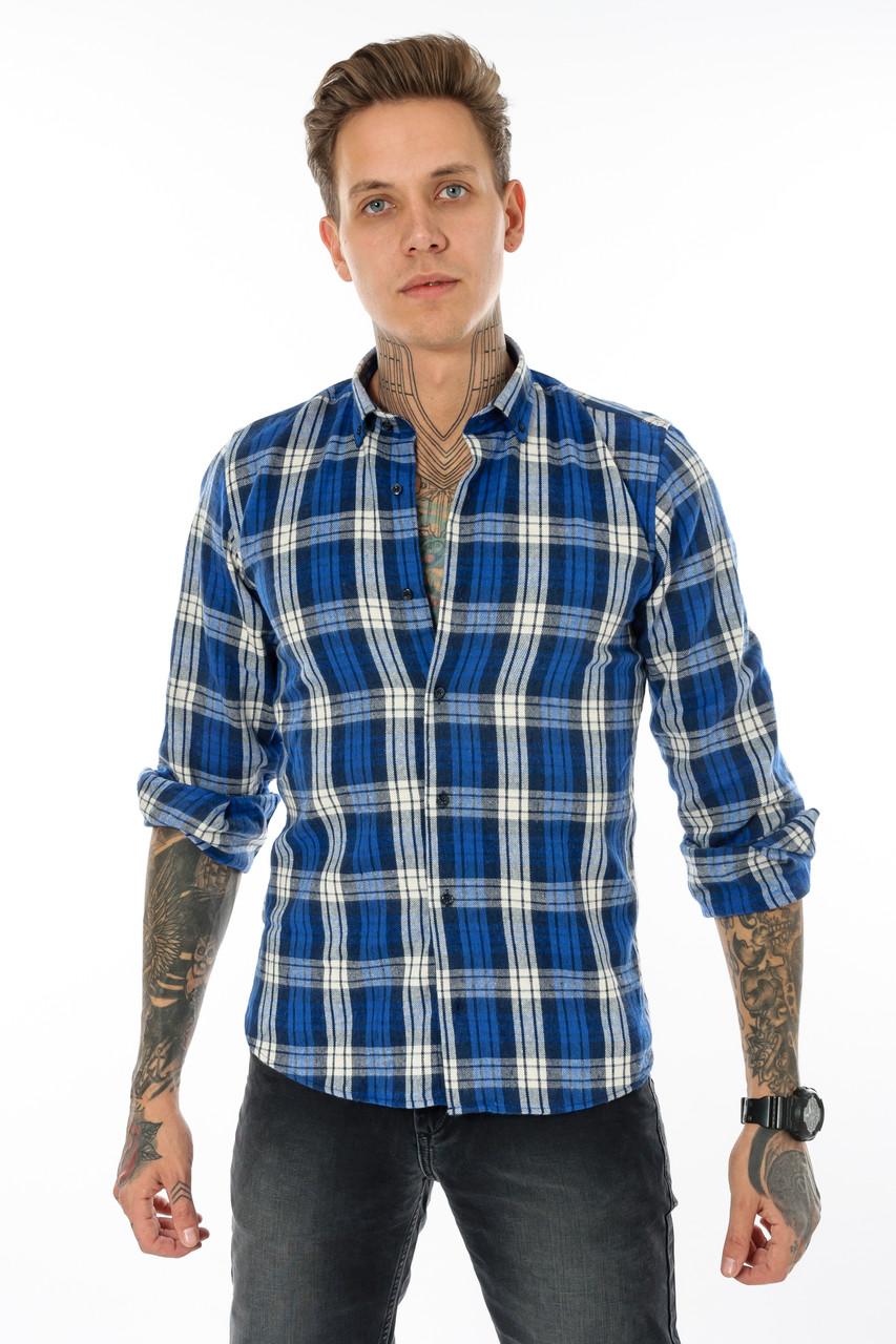 Рубашка мужская Gelix 1184 в клетку синяя