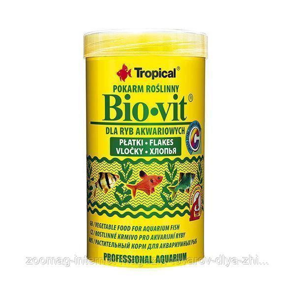 """Растительный корм для аквариумных рыб """"Bio-vit"""" (хлопья-1L/200g ) Tropical™"""