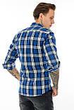 Рубашка мужская Gelix 1184 в клетку синяя, фото 3