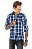 Рубашка мужская Gelix 1184 в клетку синяя, фото 2