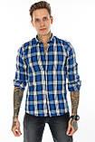 Рубашка мужская Gelix 1184 в клетку синяя, фото 4