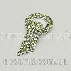Шубный крючок-застежка (клипса) со стразами, серебро 6 см (653-Т-0025)