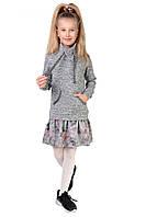 Теплое платье для девочки, в сером цвете