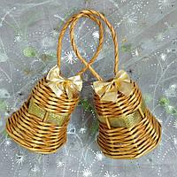 Дзвіночок золото Новорічна ялинкова прикраса з золотою стрічкою