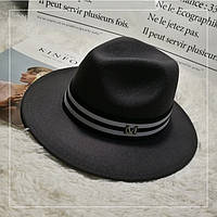 Шляпа Федора унисекс с лентой в полоску в стиле Maison Michel темно-серая (графит)