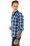 Рубашка мужская Gelix 1184 в клетку синяя, фото 10
