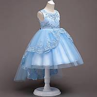 Красивое праздничное платье для девочки с дорогом кружевом и стразами Валери