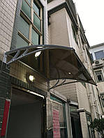 Козырек 1х1,5м навес из монолитного поликарбоната с металлическими кронштейнами и крепежом