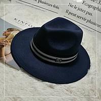 Шляпа Федора унисекс с лентой в полоску в стиле Maison Michel темно синяя, фото 1